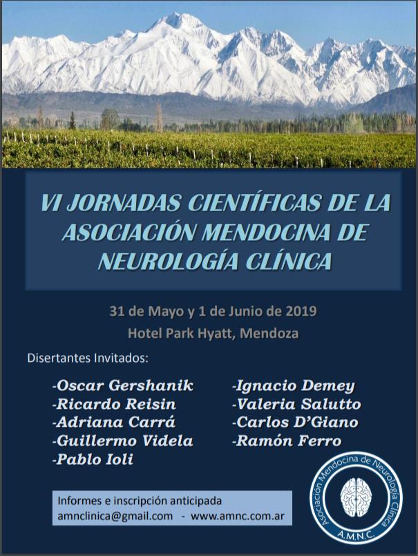 VI JORNADAS CIENTÍFICAS DE LA ASOCIACIÓN MENDOCINA DE NEUROLOGÍA CLÍNICA